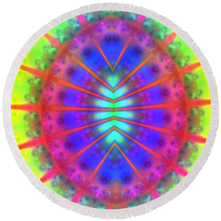 Egg Round Beach Towel featuring the digital art Conception by Alex Porter