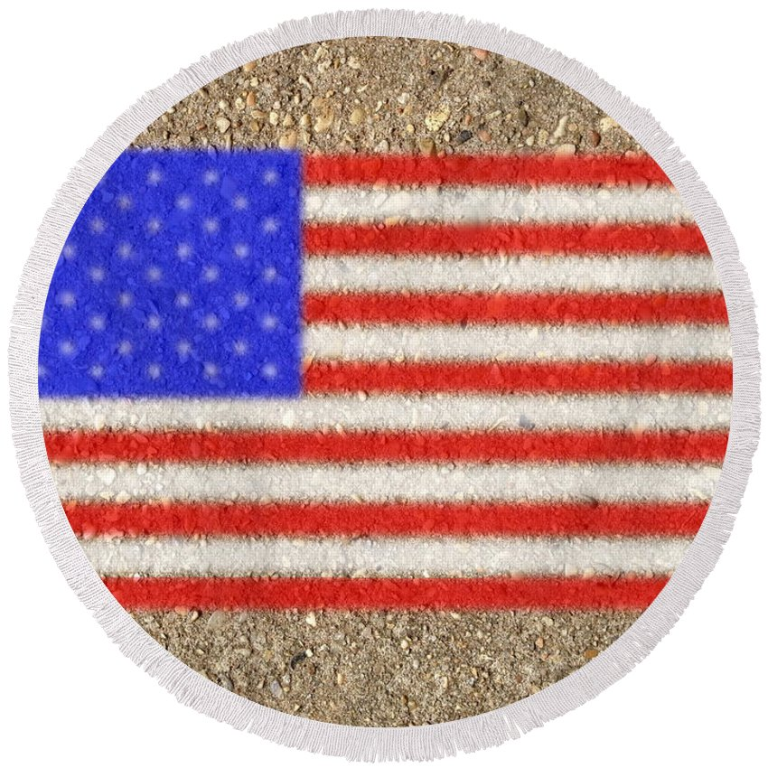 Flag Round Beach Towel featuring the digital art Concrete Flag by Ron Hedges
