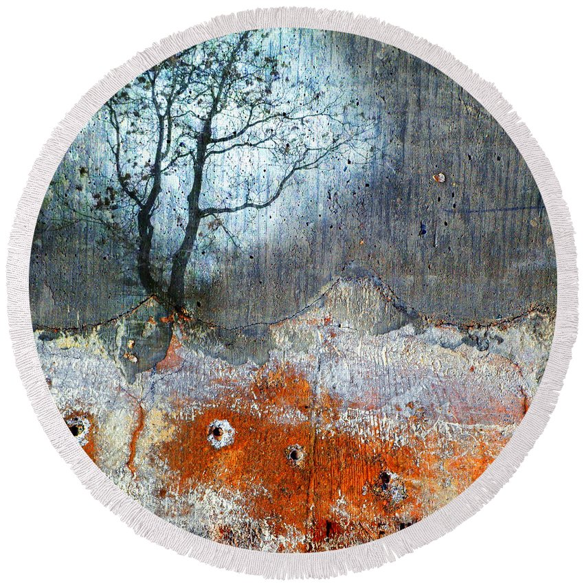 Mixes Media Round Beach Towel featuring the photograph Concrete Gardens by Tara Turner