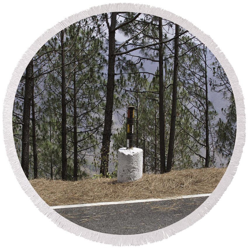 Concrete Pillar Round Beach Towel featuring the photograph Concrete Pillar On A Highway by Ashish Agarwal