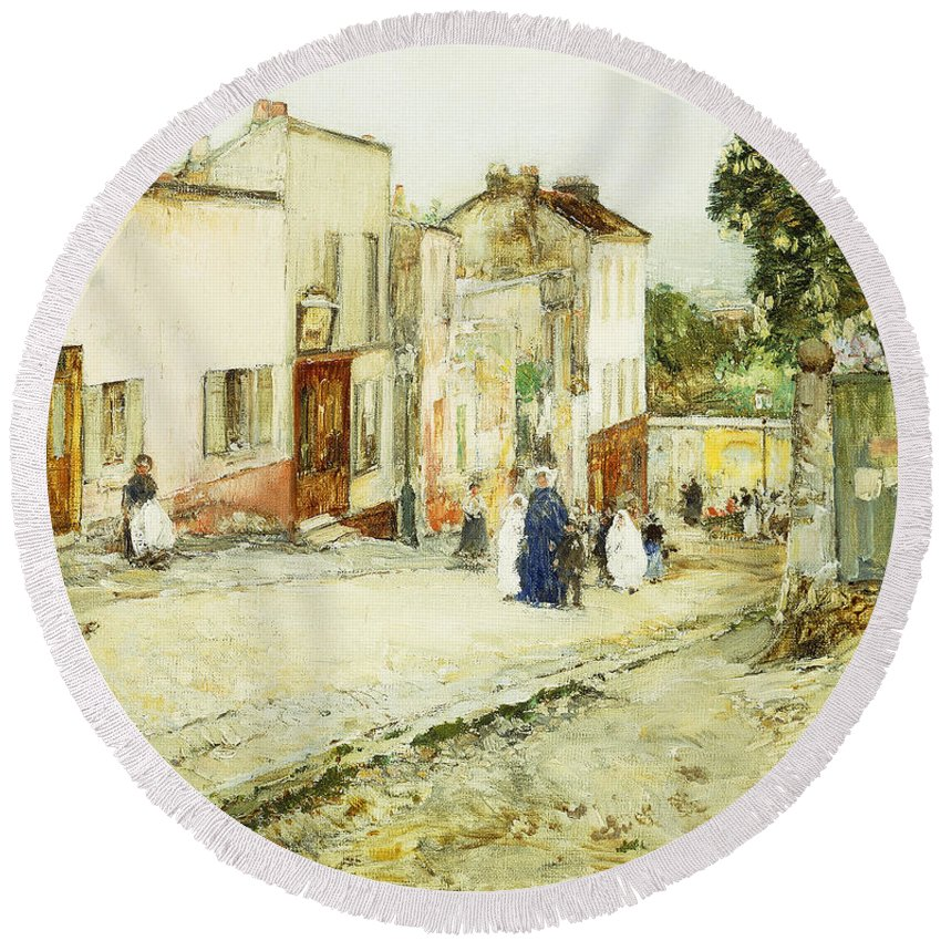 African-american; American Impressionism;impressionist; Attire; Blue; Boys; Building Exterior; Caucasian; Caucasian Ethnicity; Children; Town Life; Clothes; Clothing; Community; Color; Countryside; Daytime;deterioration; Disrepair; Ethnic Origin; Exterior Round Beach Towel featuring the painting Confirmation Day by Childe Hassam
