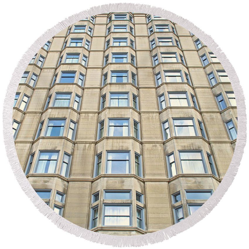 Chicago Round Beach Towel featuring the photograph Congress Plaza Hotel Windows by Thomas Woolworth