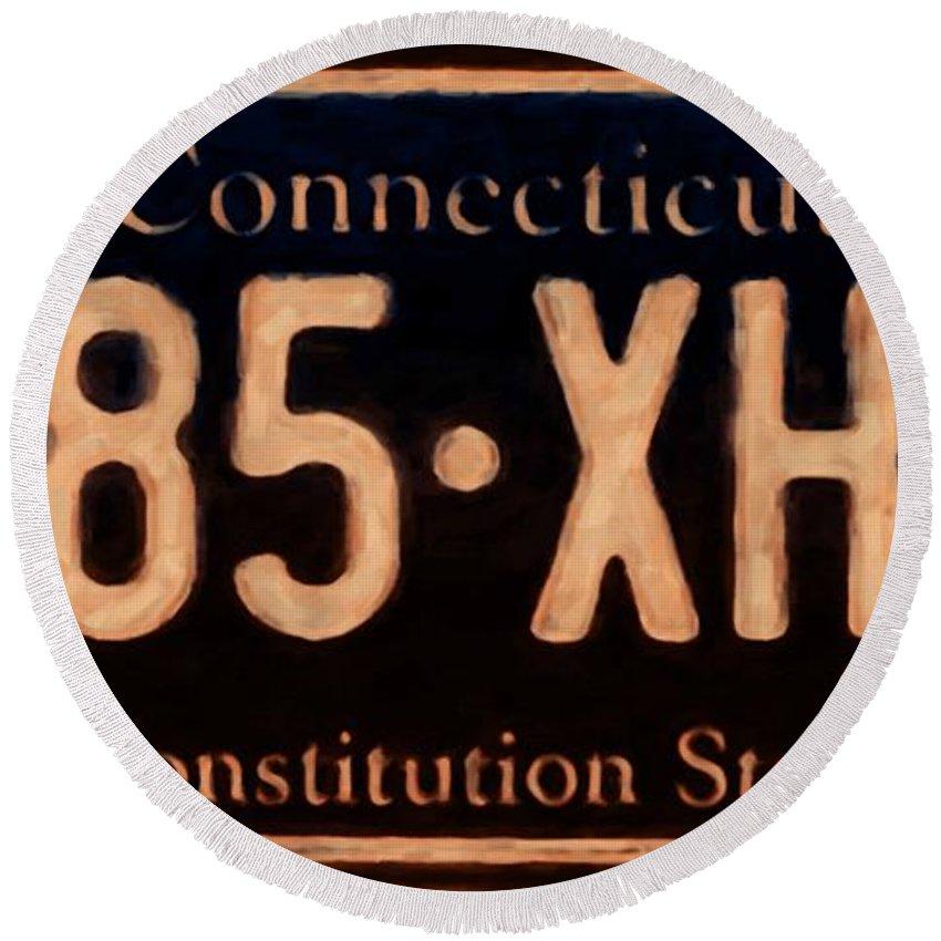 Connecticut License Plate Round Beach Towel featuring the painting Connecticut License Plate by Jeelan Clark