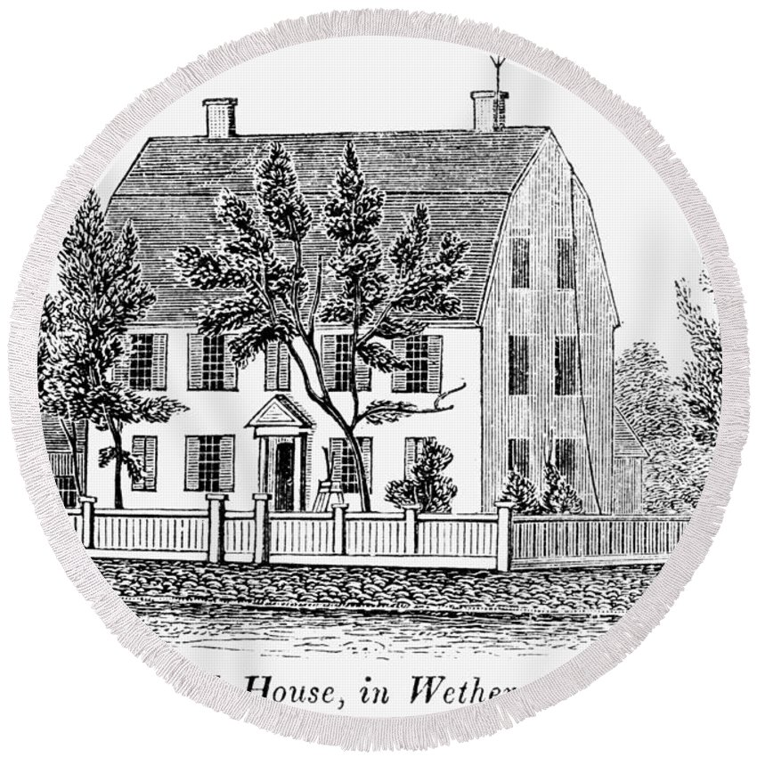1781 Round Beach Towel featuring the painting Connecticut Webb House by Granger
