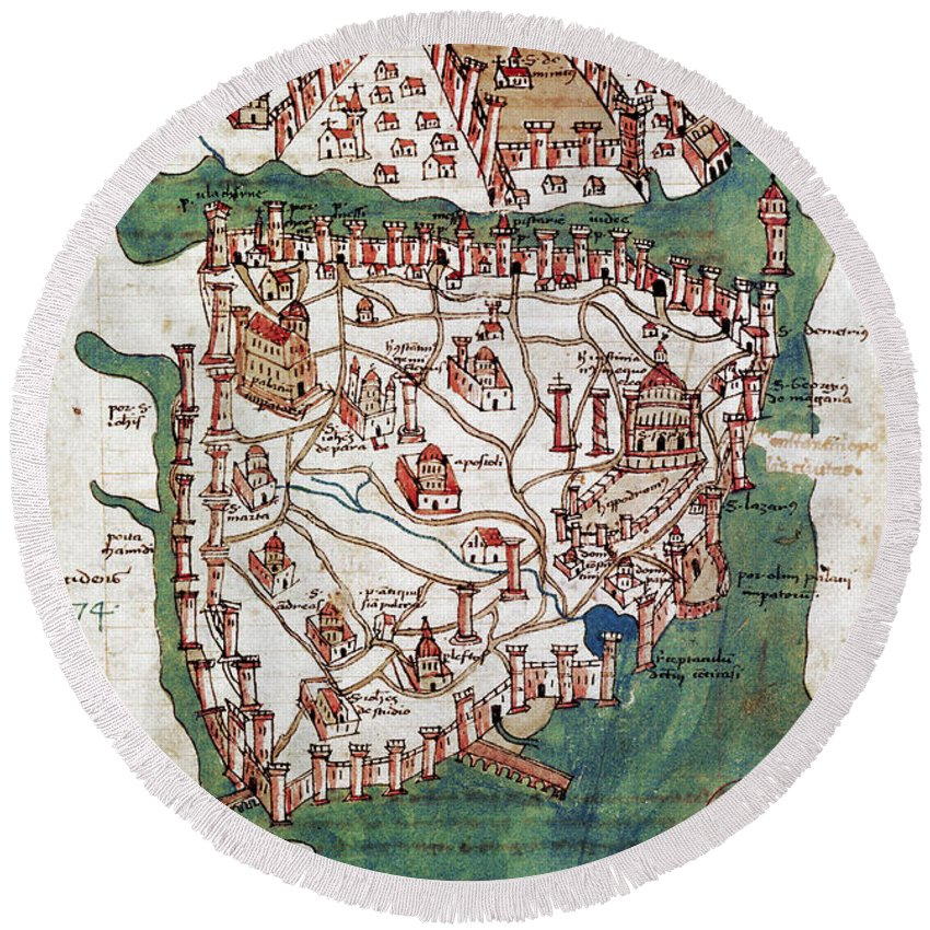 1420 Round Beach Towel featuring the photograph Constantinople, 1420 by Granger