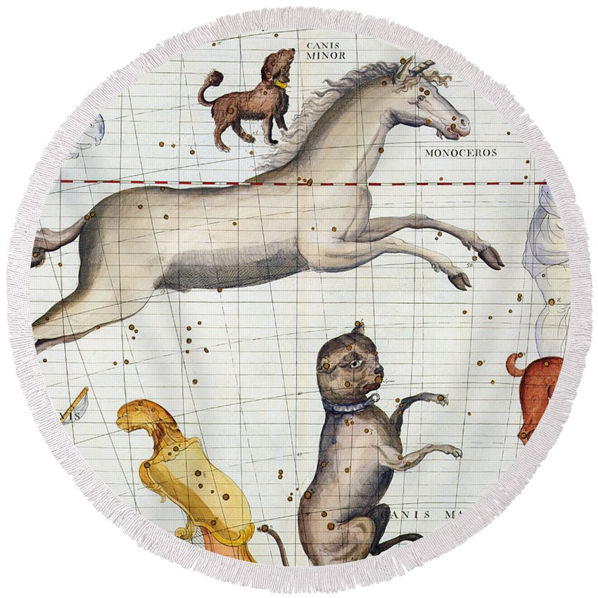 Map Round Beach Towel featuring the painting Constellation of Monoceros with Canis Major and Minor by Sir James Thornhill