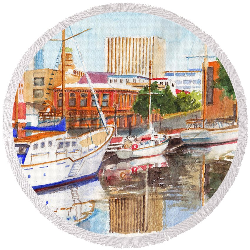 Wharf Round Beach Towel featuring the painting Constitution Dock In Hobart Tasmania by Dai Wynn