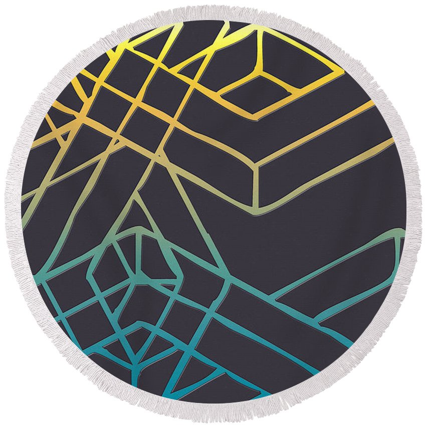 'abstracts Plus' Collection By Serge Averbukh Round Beach Towel featuring the digital art Construct Number Three by Serge Averbukh