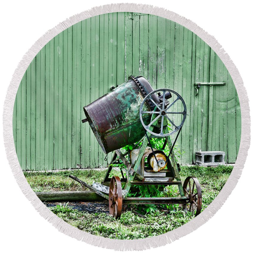 Paul Ward Round Beach Towel featuring the photograph Construction - Cement Mixer by Paul Ward