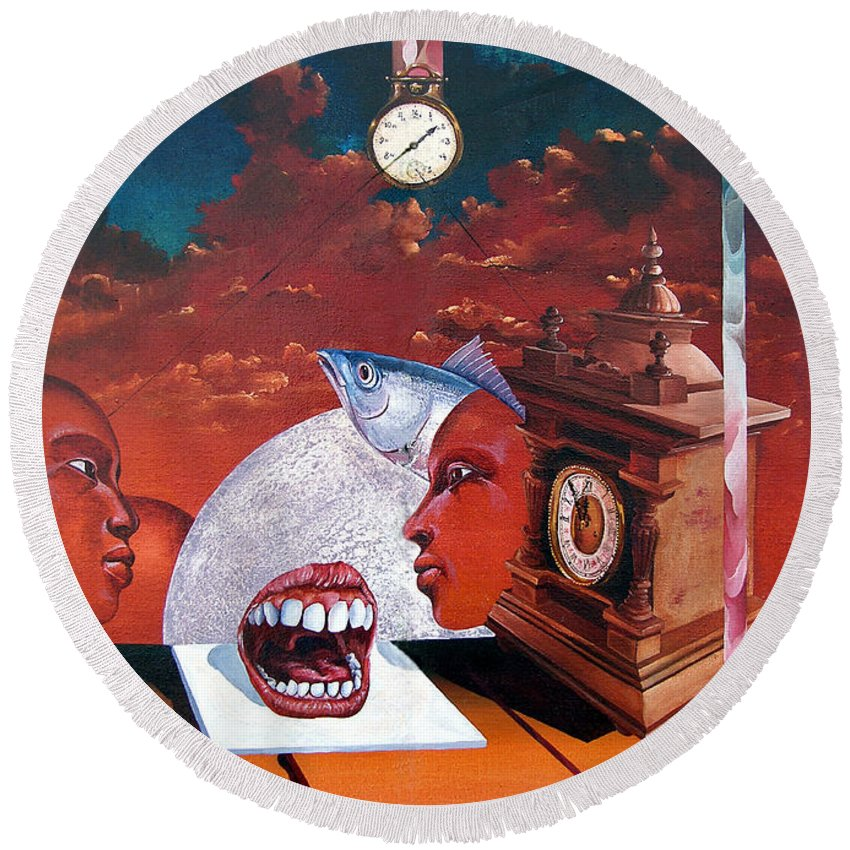 Otto+rapp Surrealism Surreal Fantasy Time Clocks Watch Consumption Round Beach Towel featuring the painting Consumption Of Time by Otto Rapp
