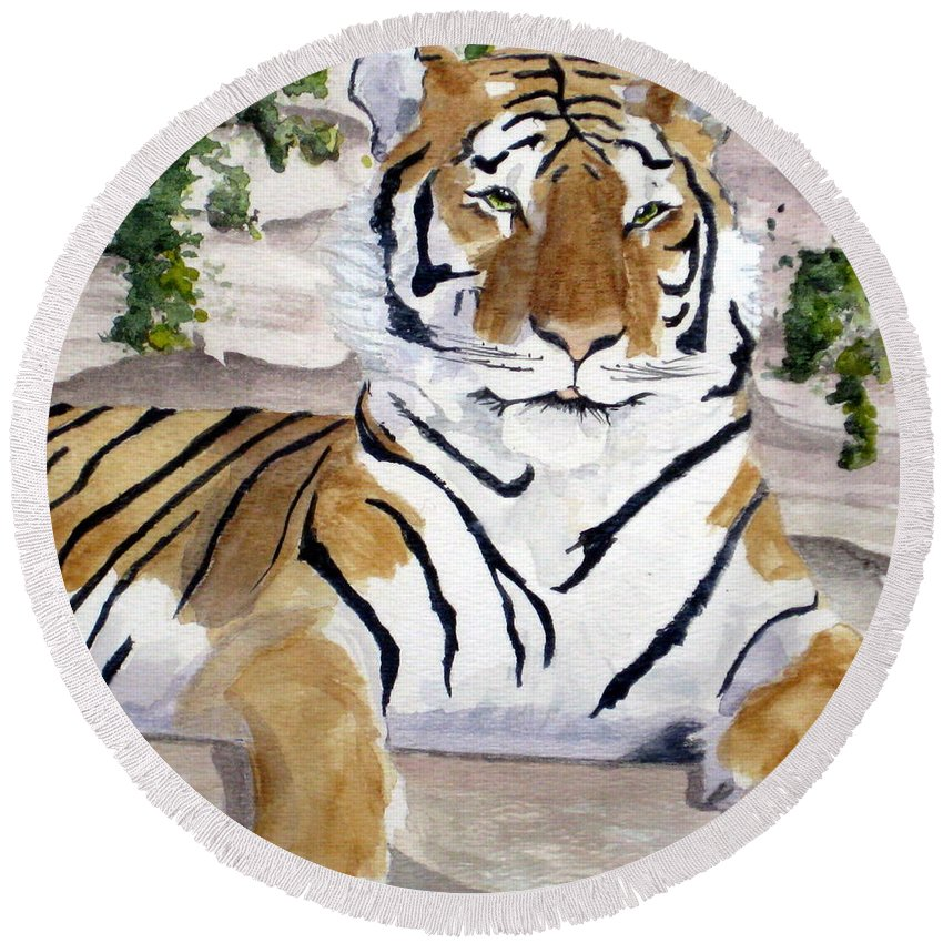 Tiger Round Beach Towel featuring the painting Contemplating Dinner by Julia RIETZ
