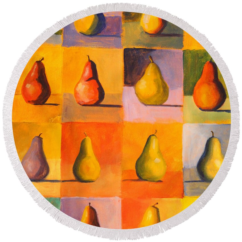 Abstract Round Beach Towel featuring the painting Contemplating The Pear by Nancy Merkle