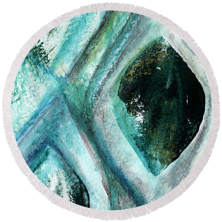 Contemporary Abstract Painting Round Beach Towel featuring the painting Contemporary Abstract- Teal Drops by Linda Woods