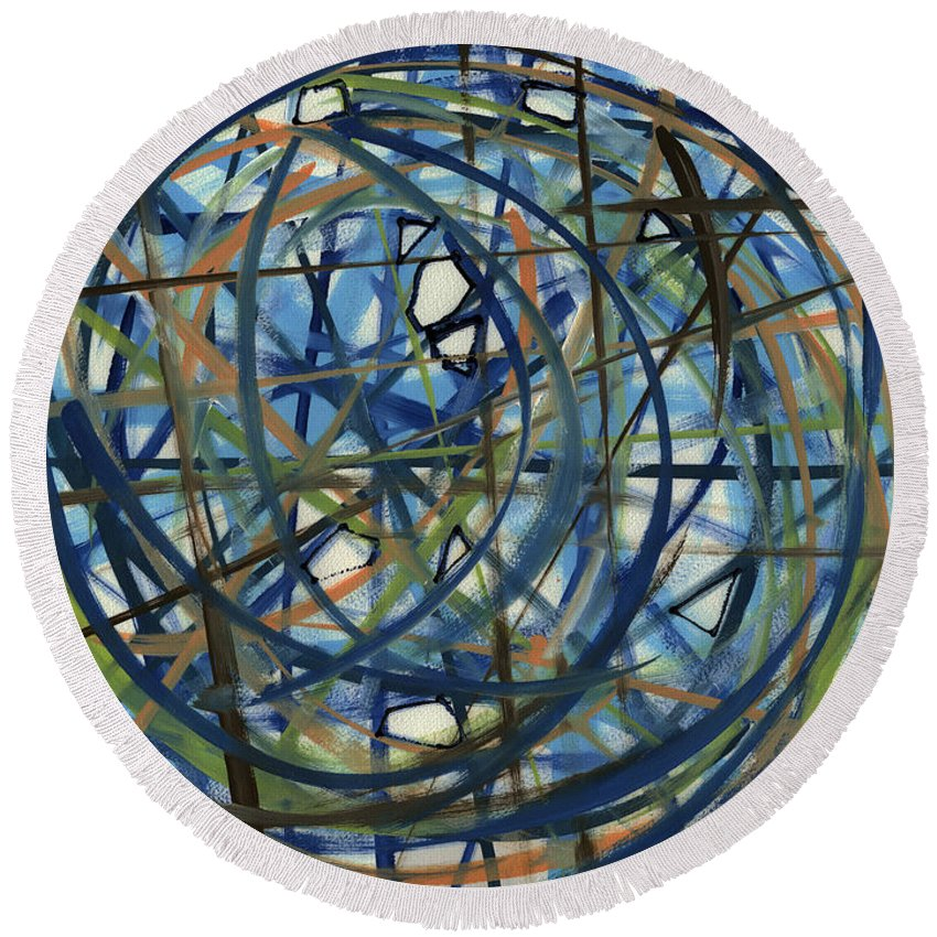 Contemporary Round Beach Towel featuring the painting Contemporary Art Seventeen by Lynne Taetzsch