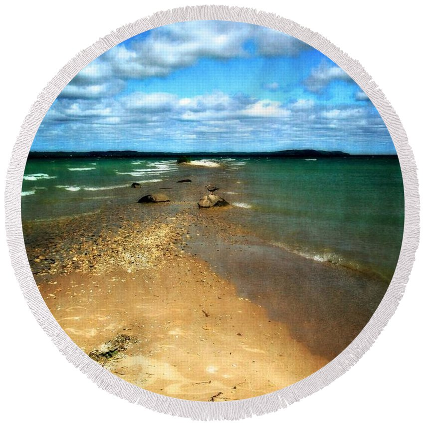 Elk Rapids Round Beach Towel featuring the photograph Convergence by Michelle Calkins