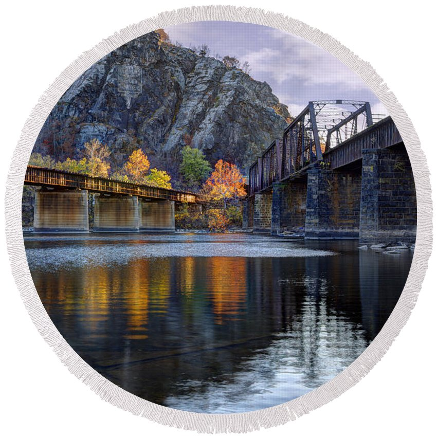 Harpers Ferry Round Beach Towel featuring the photograph Converging Light by Edward Kreis