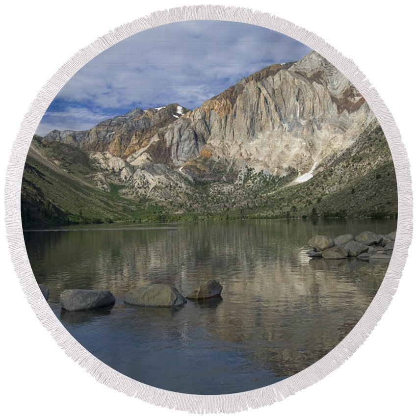Convict Lake Round Beach Towel featuring the photograph Convict Lake Reflection by Sandra Bronstein
