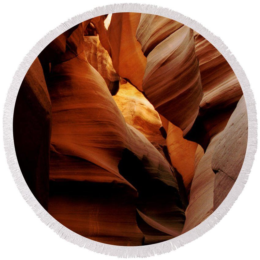 Antelope Canyon Round Beach Towel featuring the photograph Convolusions by Kathy McClure