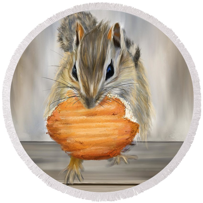 Squirrel Round Beach Towel featuring the painting Cookie Time- Squirrel Eating A Cookie by Lourry Legarde