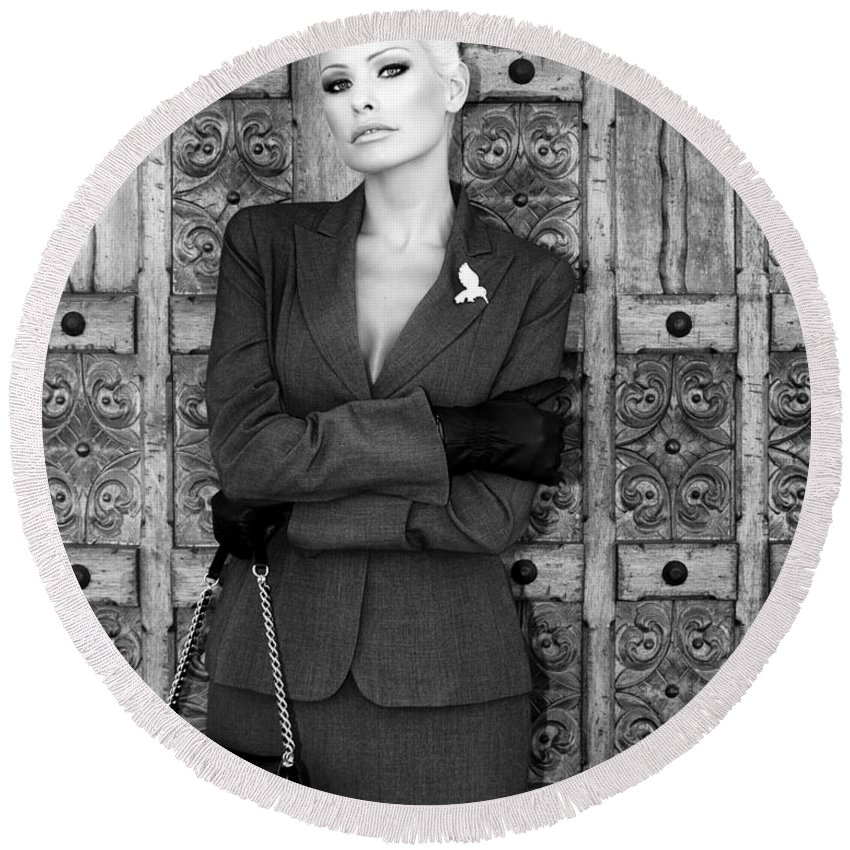 Blonde Round Beach Towel featuring the photograph Cool Blonde Bw Palm Springs by William Dey