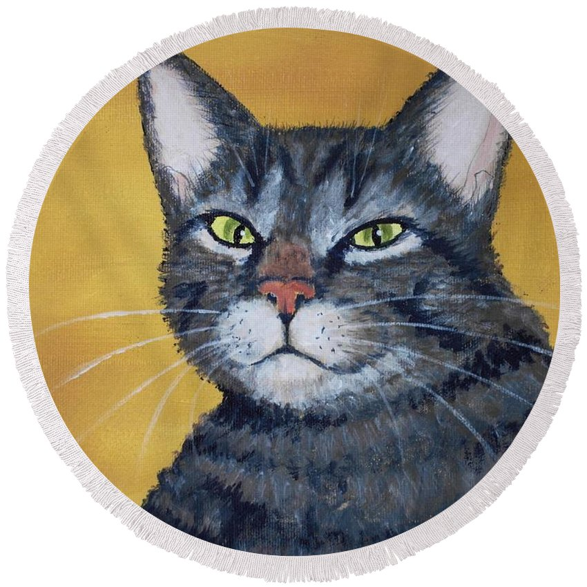 Malakhova Round Beach Towel featuring the painting Cool Cat by Anastasiya Malakhova