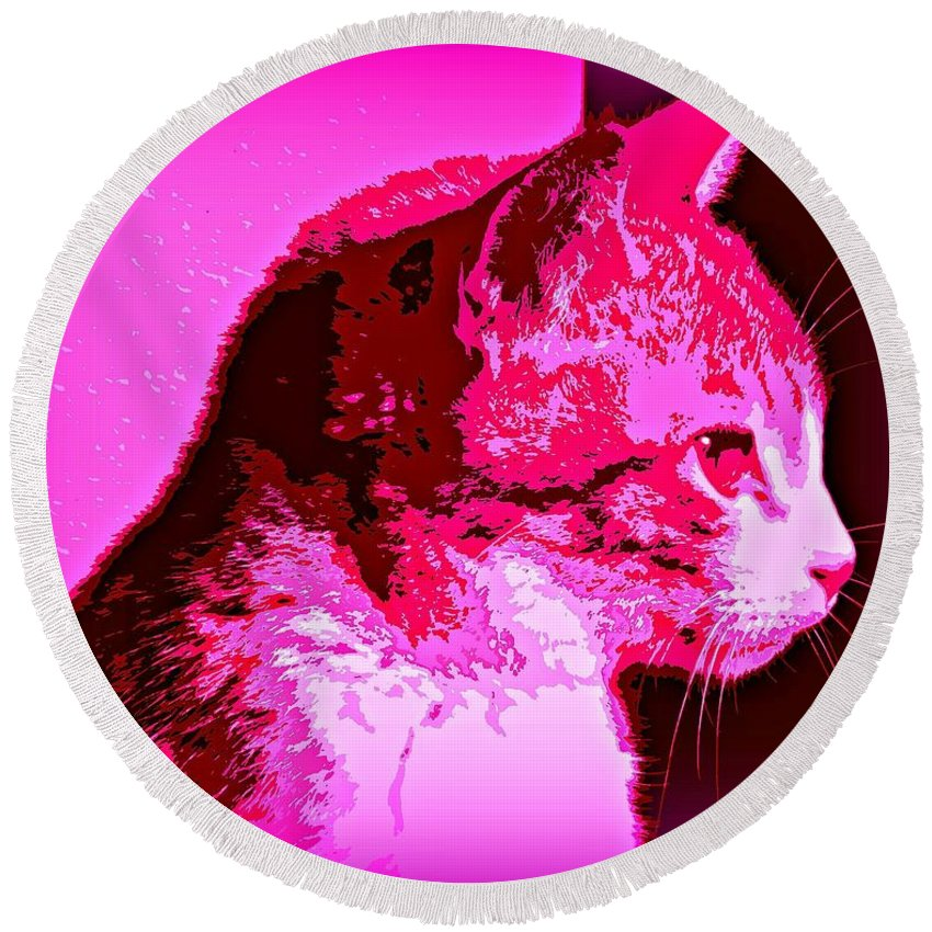 Cat Canvas Round Beach Towel featuring the photograph Cool Cat by Clare Bevan