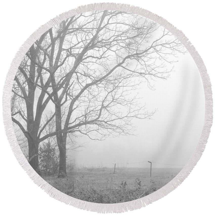 Trees Round Beach Towel featuring the photograph Cool Damp Foggy by Matt Taylor