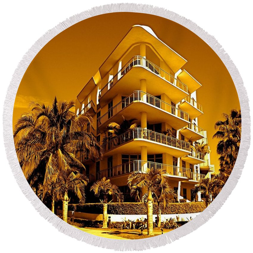 Building Round Beach Towel featuring the photograph Cool Iron Building In Miami by Monique's Fine Art