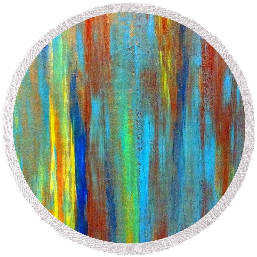 Abstract Round Beach Towel featuring the painting Cool It by Saundra Myles