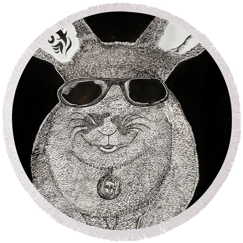 Rabbit Round Beach Towel featuring the painting Cool Rabbit by Alex Art and Photo