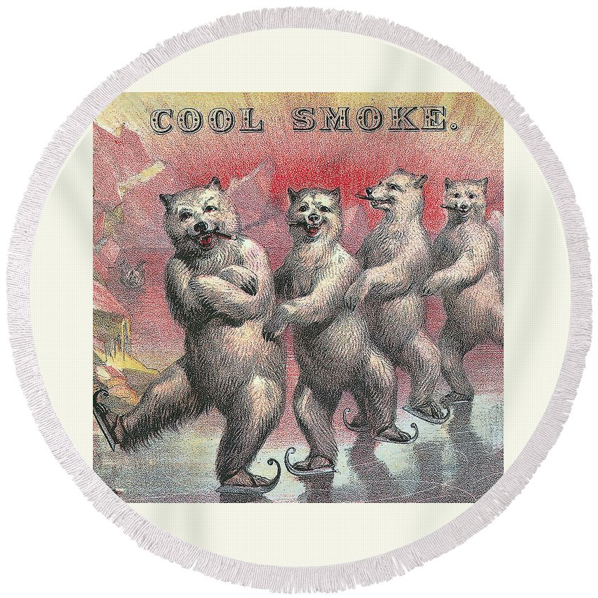 Label Art Round Beach Towel featuring the digital art Cool Smoke Cigar Label by Label Art