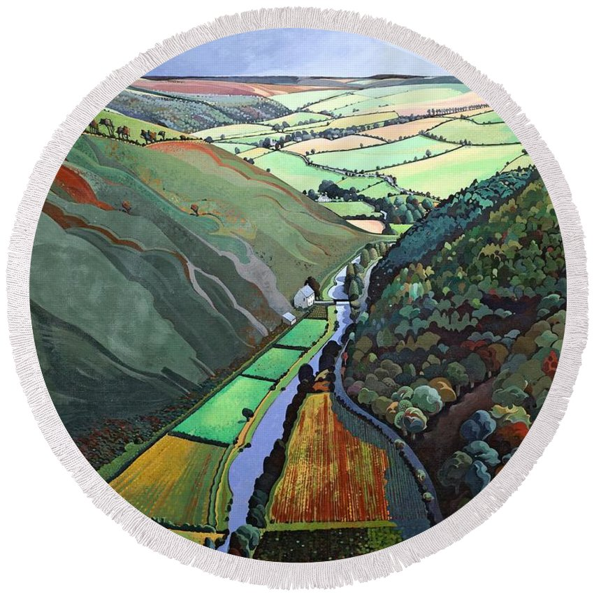 Valley Round Beach Towel featuring the photograph Coombe Valley Gate, Exmoor, 2009 Acrylic On Canvas by Anna Teasdale