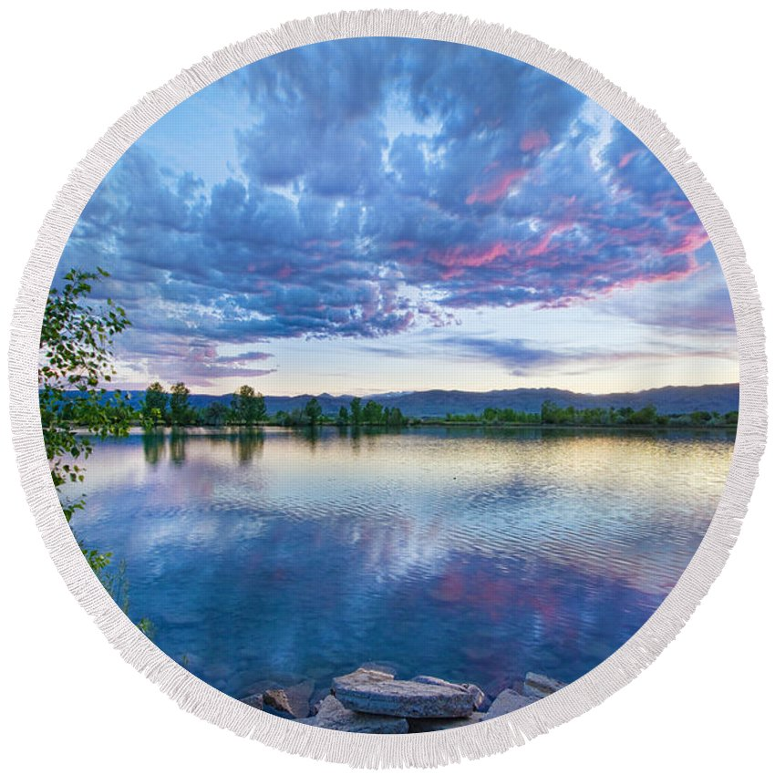 Reflections Round Beach Towel featuring the photograph Coot Lake View by James BO Insogna