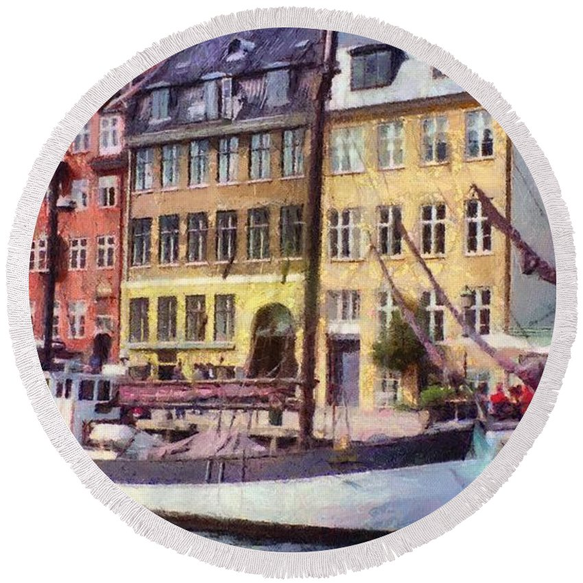 Scandinavia Round Beach Towel featuring the painting Copenhagen by Jeffrey Kolker