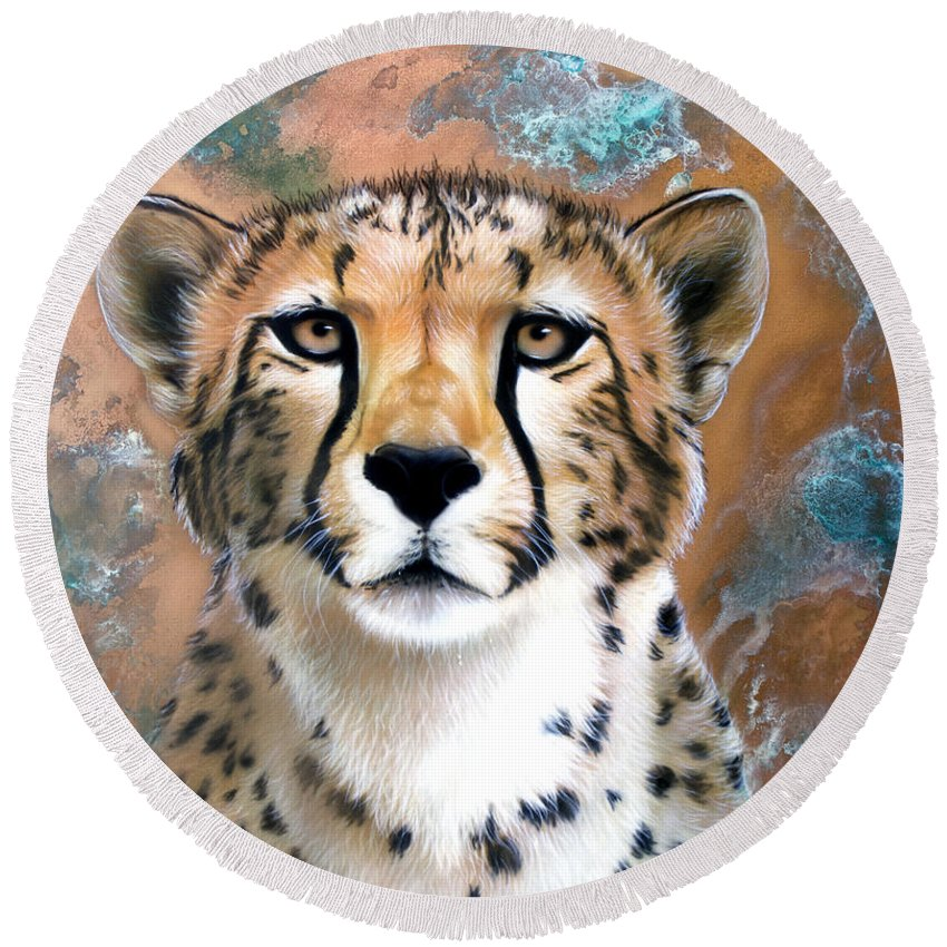 Copper Round Beach Towel featuring the painting Copper Flash - Cheetah by Sandi Baker