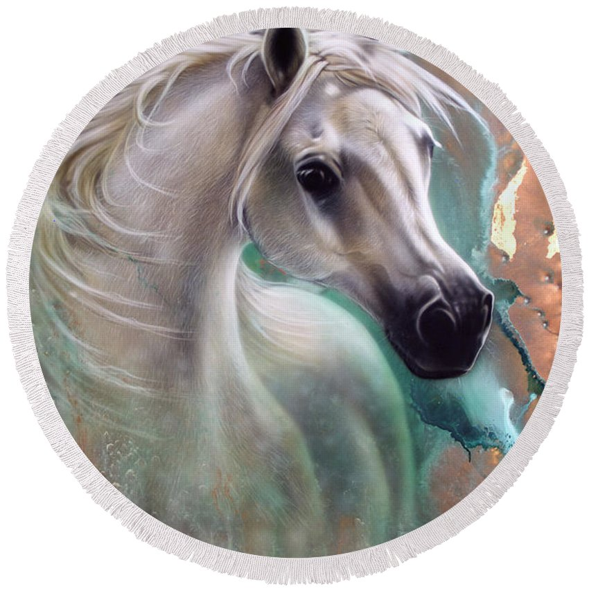 Copper Round Beach Towel featuring the painting Copper Grace - Horse by Sandi Baker