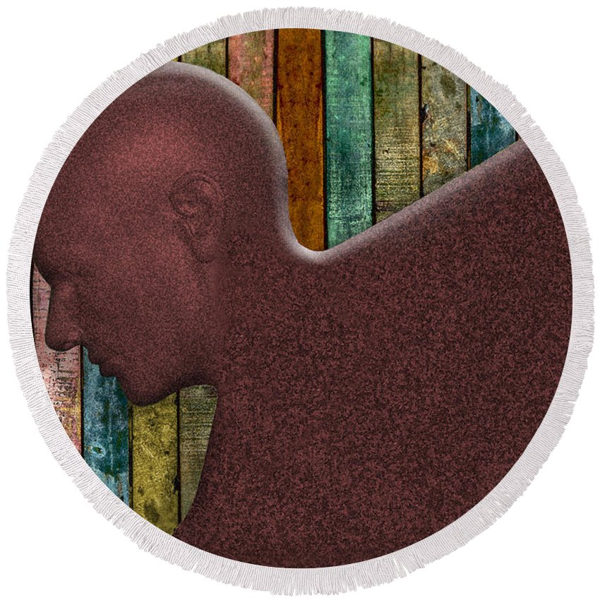 Photography Round Beach Towel featuring the photograph Copper Man by Paul Wear