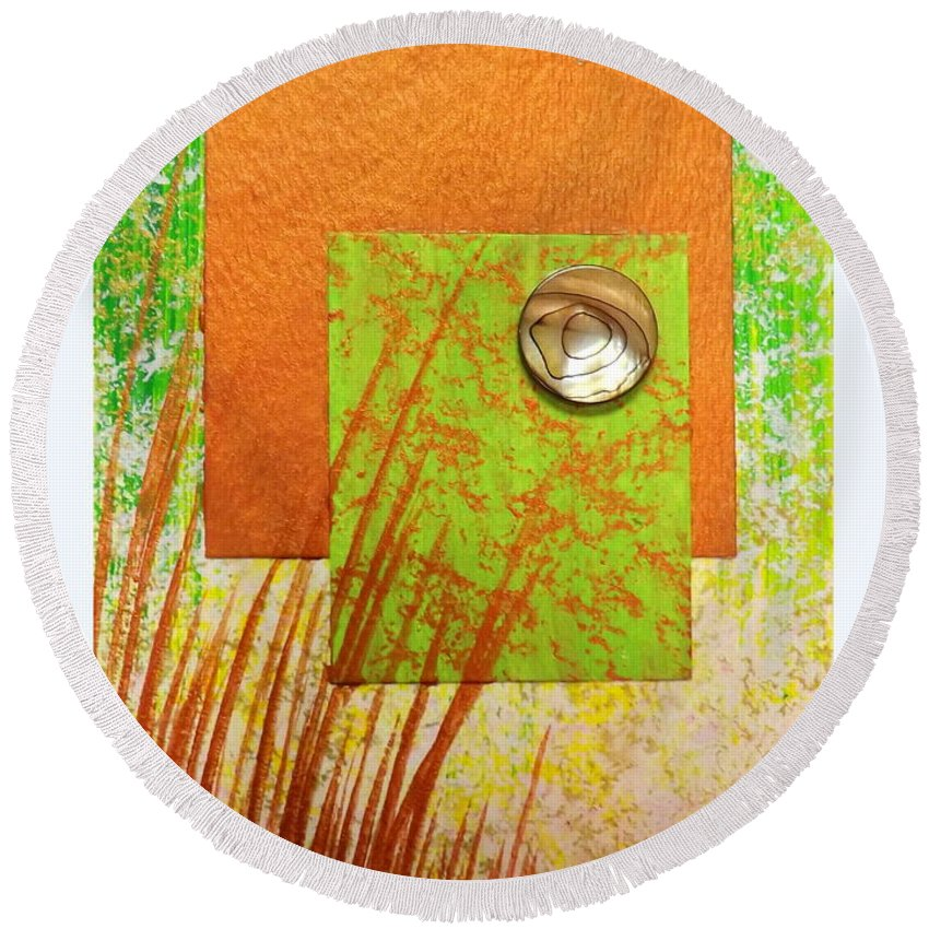 Copper Sunset Round Beach Towel featuring the painting Copper Sunset by Darren Robinson