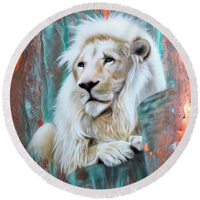 Copper Round Beach Towel featuring the painting Copper White Lion by Sandi Baker