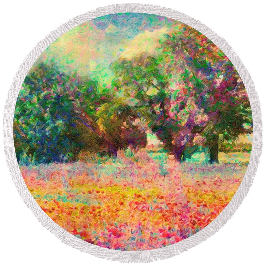 Landscape Round Beach Towel featuring the painting Coquelicots by Zapista