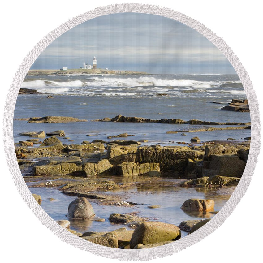 Northumberland Round Beach Towel featuring the photograph Coquet Island by David Head
