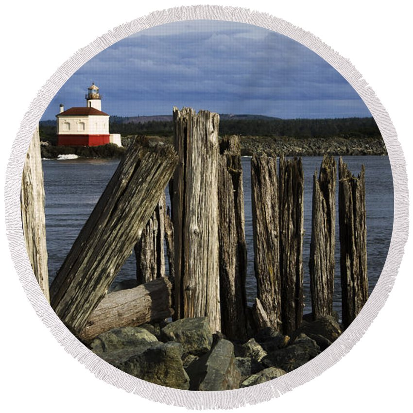 Coquille Round Beach Towel featuring the photograph Coquille Lighthouse Oregon 3 by Bob Christopher