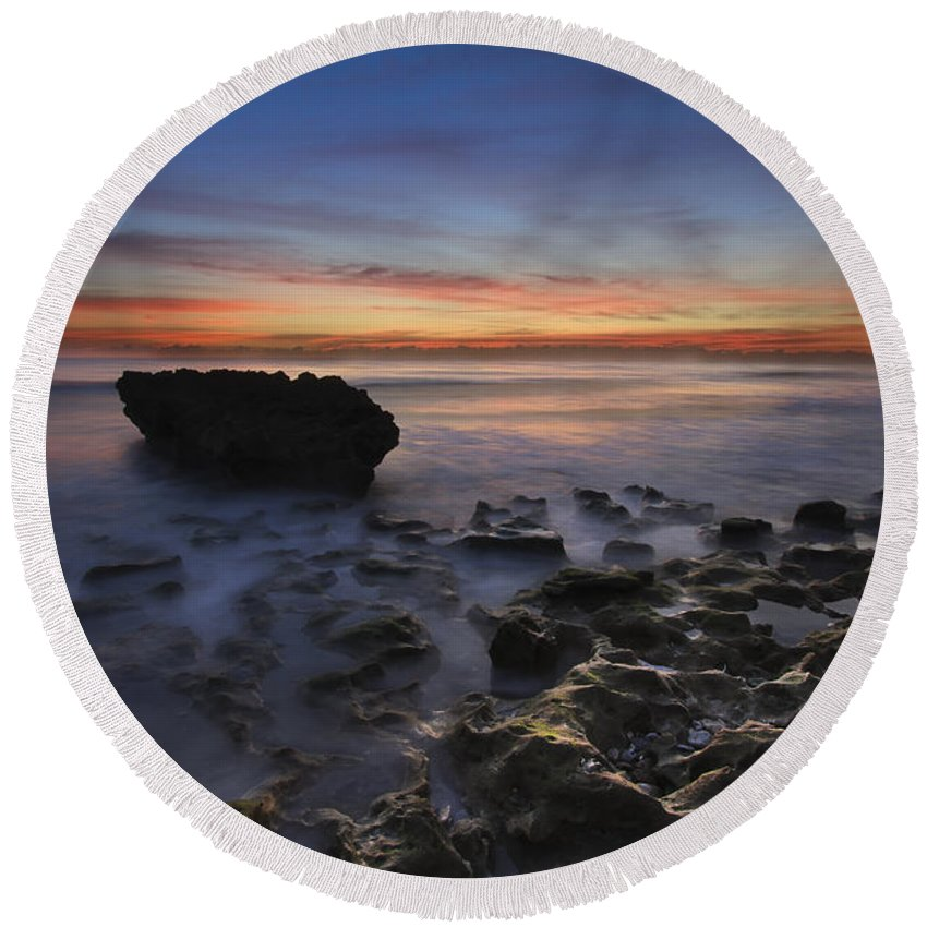 Clouds Round Beach Towel featuring the photograph Coral Cove Beach At Dawn by Debra and Dave Vanderlaan