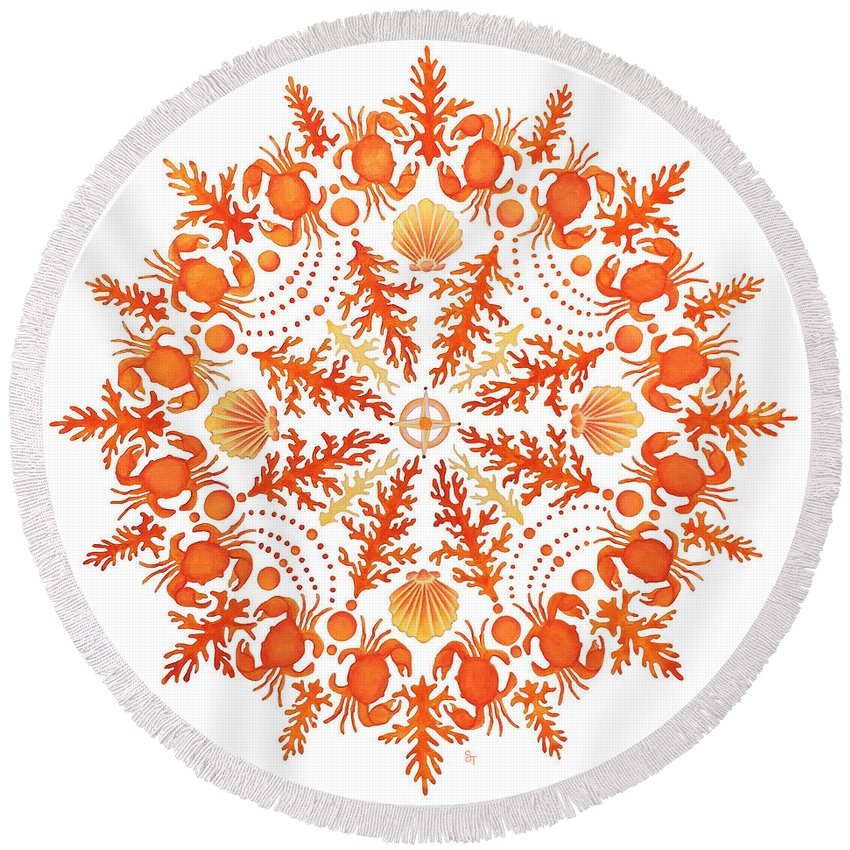 Coastal Art Round Beach Towel featuring the painting Coral Crab Mandala by Stephanie Troxell