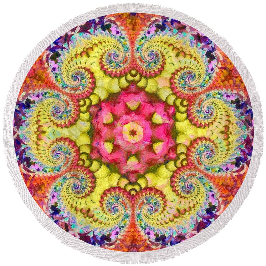 Sacredlife Mandalas Round Beach Towel featuring the painting Coral Ecstacy by Derek Gedney