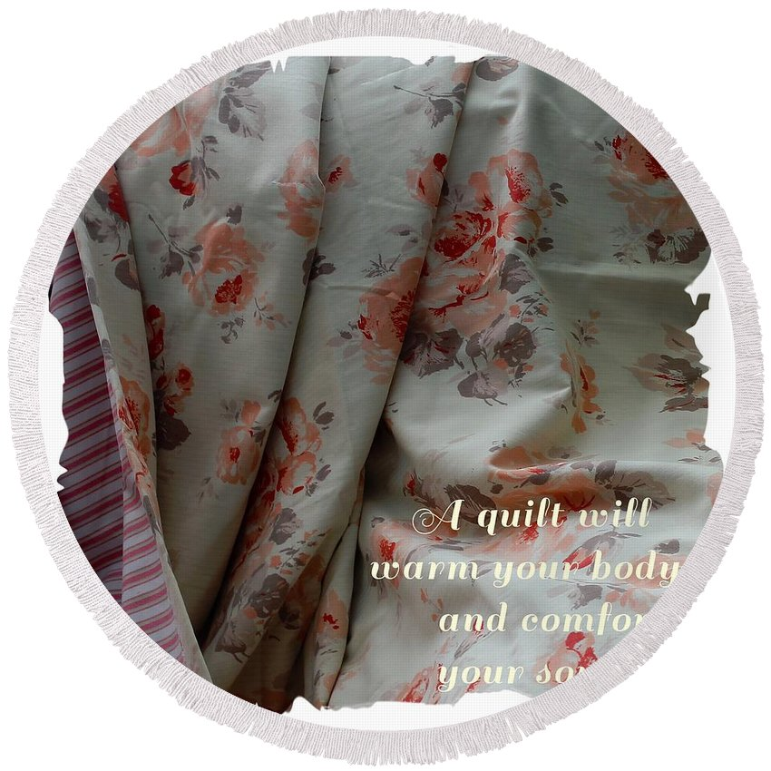 Coral Rose Quilt With Quote Round Beach Towel featuring the photograph Coral Rose Quilt With Quote by Barbara Griffin