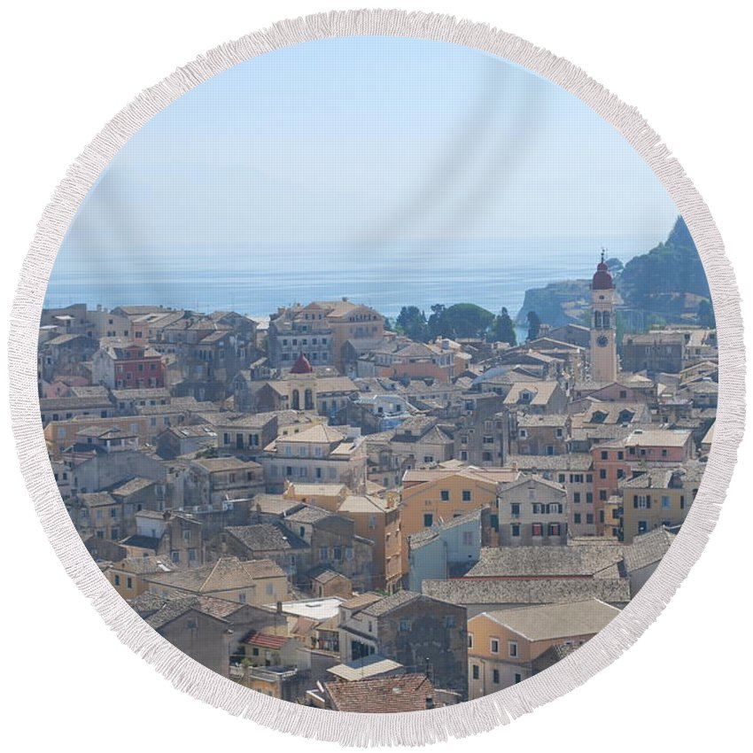 Corfu Round Beach Towel featuring the photograph Corfu by George Katechis