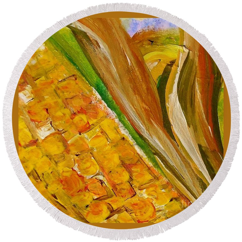 Corn Round Beach Towel featuring the painting Corn In The Husk by Eloise Schneider Mote