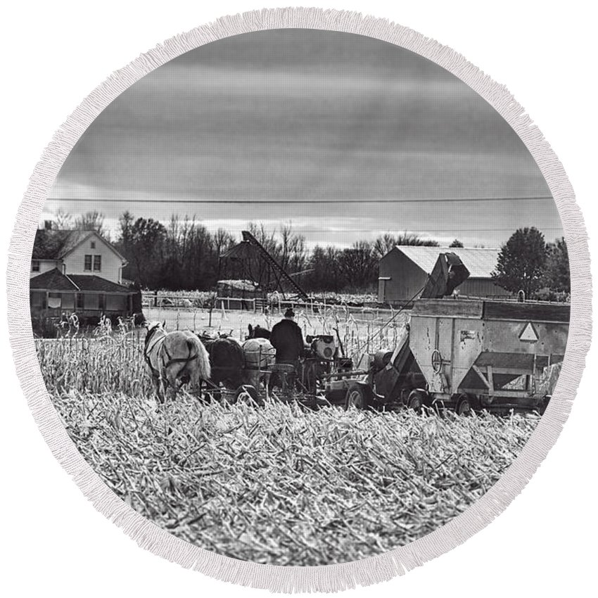 Amish Round Beach Towel featuring the photograph Corn Picker November 2013 by David Arment