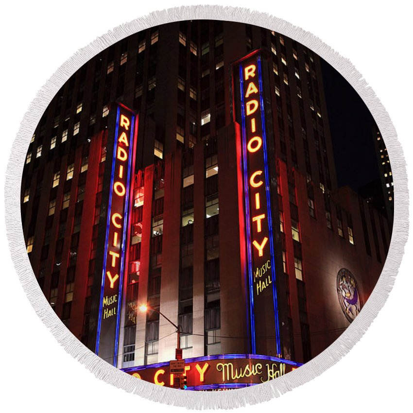 New York Round Beach Towel featuring the photograph Corner Of Radio City Music Hall by Deborah Benbrook